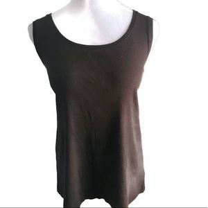 Chico's Round Neck Tank Top In Brown 3X
